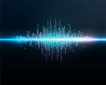 VOICE RECOGNITION.Sound waves oscillating glow light, Abstract technology background - Vector Vecteurs