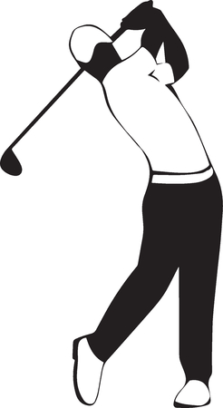 pursuit: Man in a cap plays golf, swing a club. Illustration
