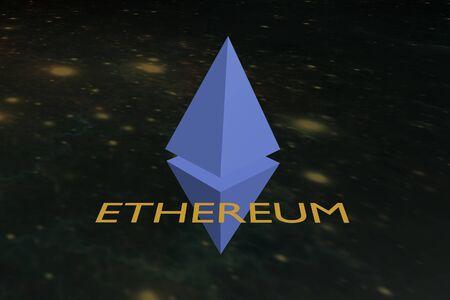 Sign cryptomoney Ethereum on space background