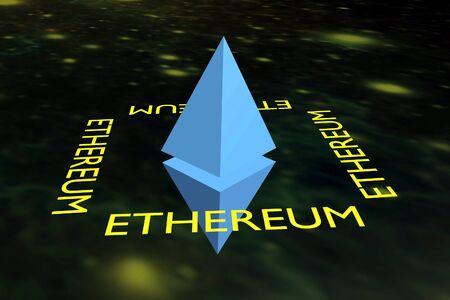 Sign cryptomoney Ethereum on background space. Zdjęcie Seryjne