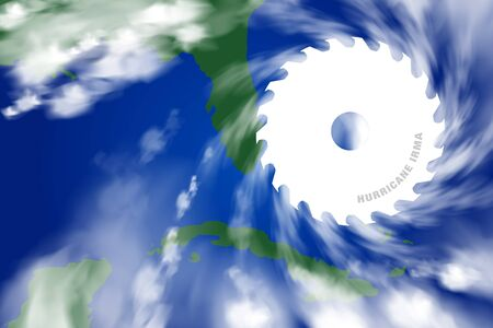 UNITED STATES & CUBA, NORTH AMERICA, 9 September 2017 - Killer Hurricane Irma hitting the Caribbean and Florida. Stock Photo - 89387972