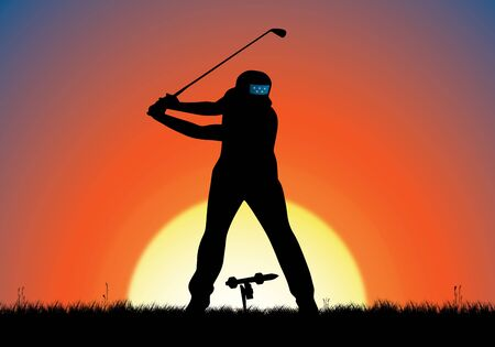 NEW JERSEY, USA, September 28 to October 1, 2017 - Precision Golf, The Presidents Cup. Digital Illustration of a golfer and a guided missile golf ball. Stock Photo - 89388000