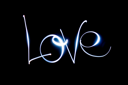 Light painting the word Love. Stock Photo - 90707697