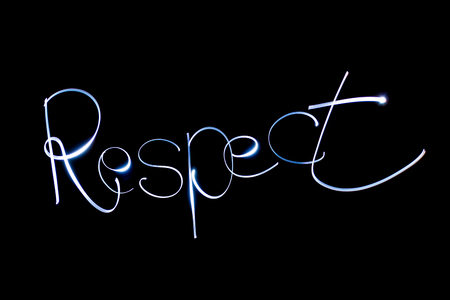 Light painting the word Respect. Stock Photo