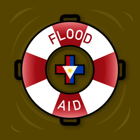 Illustration of Flood Aid Symbol for flooding in Philippine Islands.