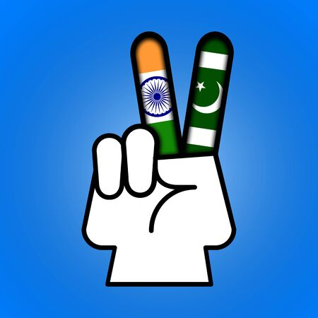 Illustration idea showing peace is possible between India and Pakistan. Stock Photo