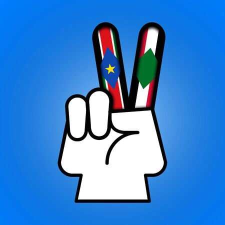 Illustration idea showing peace is possible between North and South Sudan. Stock Photo