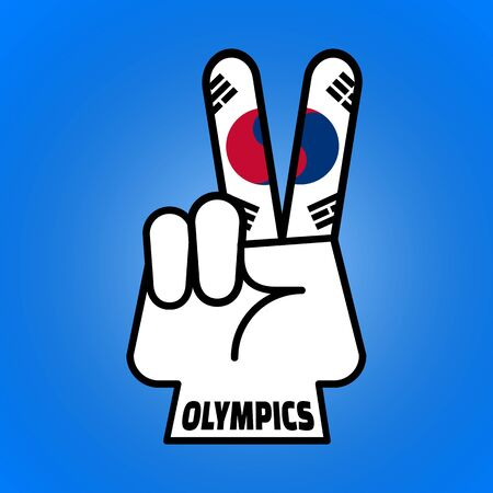 PYEONGCHANG, SOUTH KOREA, 9 February 2018 - Illustration of hand peace symbol for South Korean Peace Olympic Games.
