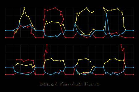 Stock Market Font - Letters A, B, C, D.