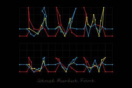 Stock Market Font - Letters U, V, W. Stock Photo