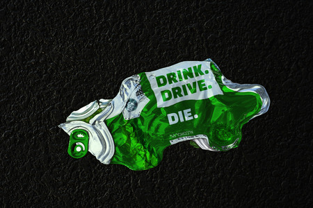 Photo-manipulated image of fatal dangers of drinking and driving.