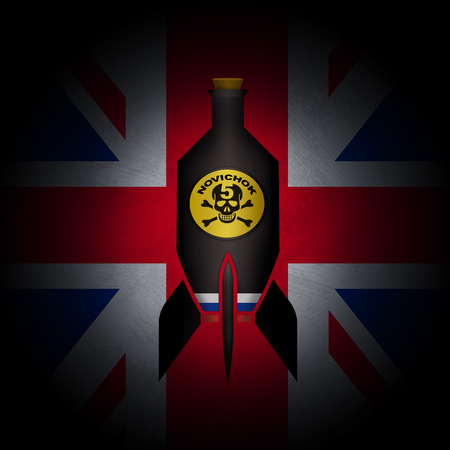 SALISBURY, UNITED KINGDOM, 14 March 2018 - Illustrated idea of alleged devastating Russian poison attack on UK. Editorial