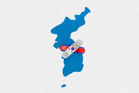 DMZ, KOREA, 23 April 2018 - Illustration for 2018 Inter Korean Peace Summit.