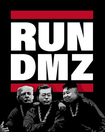 DMZ, KOREA, 27 April 2018 - Illustration for Korean Peninsula peace summit talks.