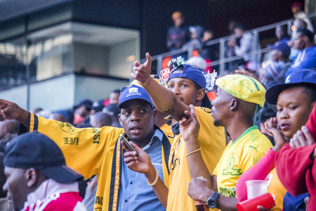CAPE TOWN, SOUTH AFRICA, 12 May 2018 - Diverse South African football supporters questioning a decision during PSL football match between Ajax Cape Town and Kaiser Chiefs.