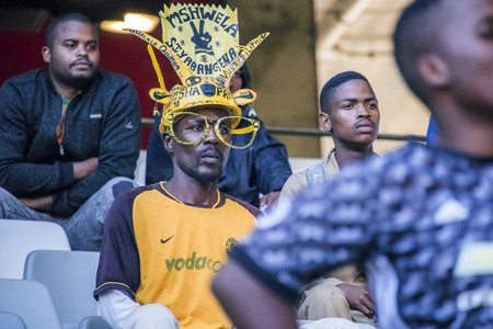 CAPE TOWN, SOUTH AFRICA, 12 May 2018 - Diverse South African football supporter worried during PSL football match between Ajax Cape Town and Kaiser Chiefs. Editorial