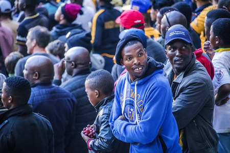 CAPE TOWN, SOUTH AFRICA, 12 May 2018 - Diverse South African football supporters looking back during PSL football match between Ajax Cape Town and Kaiser Chiefs.