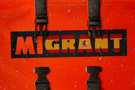 3D rendered idea for migrants crossing the Mediterranean and gaining access into Spain. Stock Photo