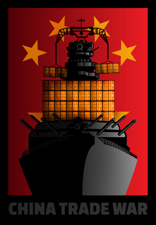 Illustration for China trade war against other countries.