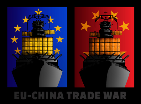 Illustration for trade war between European Union and China. Stock Photo