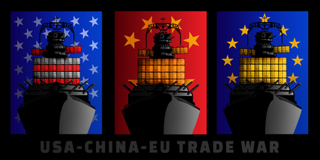 Illustration for trade war between United States, China and European Union. Stock Photo