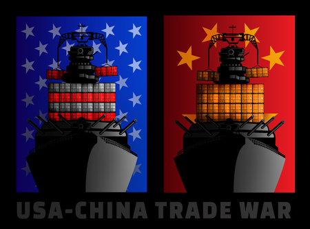 Illustration for trade war between United States and China.