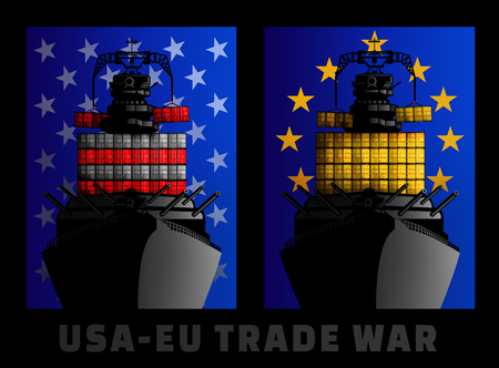 Illustration for trade war between United States and European Union. Stock Photo
