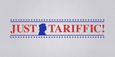 WASHINGTON DC, USA, 4 July 2018 - Illustration for US President pleased with trade wars and US raising of international tariffs.