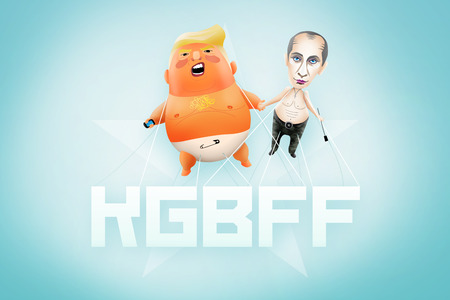 HELSINKI, FINLAND, 18 July 2018 - Illustration for US president declaring admiration for ex-KGB and now Russian President.