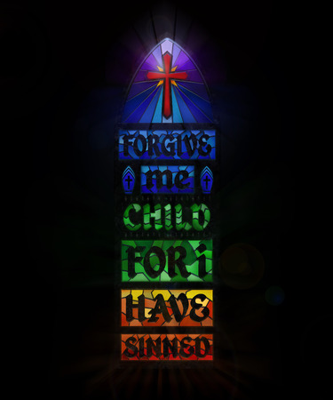 3D rendering for Catholic church embarrassment over priest child abuse. Stock Photo