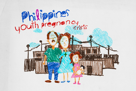 Illustration for Philippines youth pregnancy crisis.