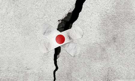 Photo manipulated idea for rescue efforts in Japan after powerful earthquake.