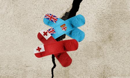 Photo manipulated image to rebuild Fiji and Tonga after powerful earthquake. Stock Photo