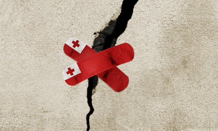 Photo manipulated image to rebuild Tonga after powerful earthquake. Stock Photo