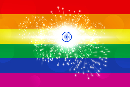 Illustration idea celebrating decriminalisation of gay sex in India. Stock Photo
