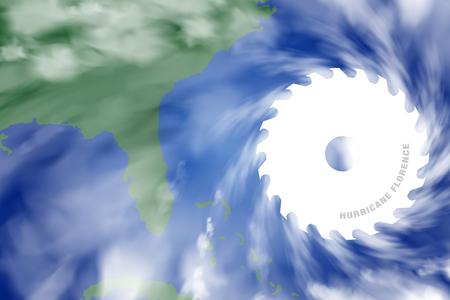 Illustration of Killer Hurricane Florence heading towards the United States.