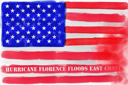 Illustration idea for Hurricane Florence flooding the East Coast of the United States.