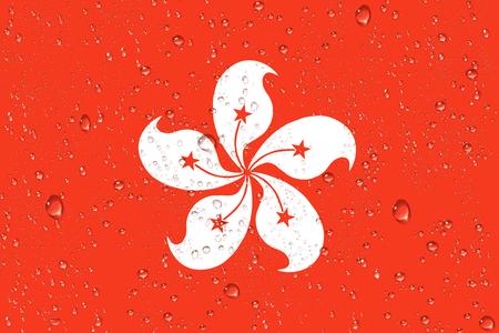 3D rendering of wet Hong Kong flag after a Typhoon.