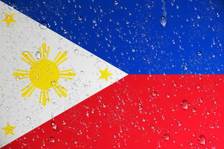 3D rendering of wet Philippines flag after a Typhoon.