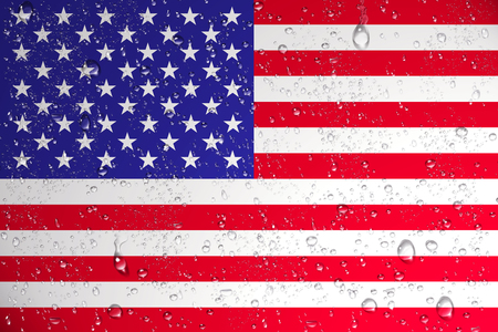 3D rendering of wet United States flag after a Hurricane.