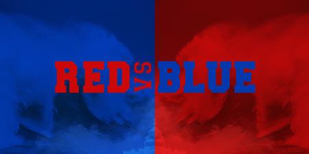 Photo manipulated idea for Republican Red Wave versus Democrat Blue Wave.