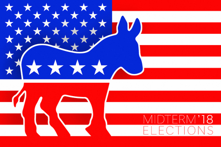 Illustration idea for Democrat vote for the US Midterm Elections 2018.