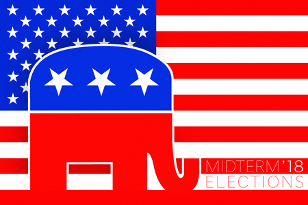 Illustration idea for Republican vote for US Midterm Elections 2018. Editorial