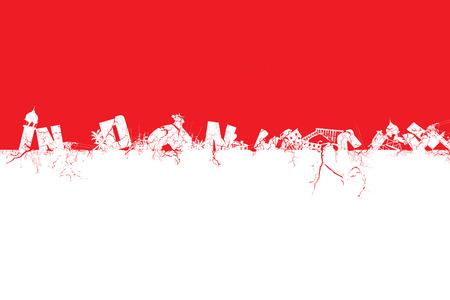 Illustration idea for earthquake and tsunami devastating Indonesia.
