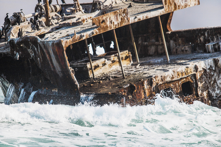 Rusted shipwreck on the shore with crashing waves and Cape Cormorant birds.
