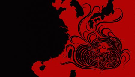 Illustration idea for typhoon heading towards Taiwan, Japan, South Korea and China.