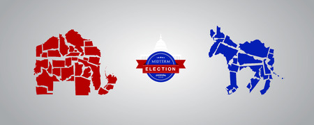 Illustration idea for Midterm Elections - Republican states versus Democrat states.