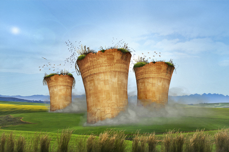 3D rendering idea showing it is time to quit emitting air pollution.