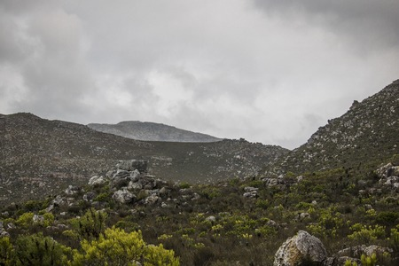 Scenic Clarence Drive mountains, between Gordons Bay and Kleinmond in the Western Cape, South Africa
