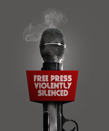 Photo manipulated idea for Free Press violently silenced.